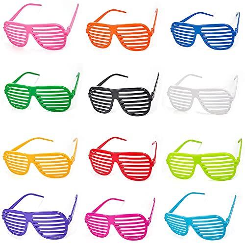 12 Piezas de Gafas de Fiesta de Coloress, Gafas de Fiesta, Adecuadas para Fiestas de Disfraces de Hombres y Mujeres Representaciones Teatrales de Fiestas de Cumpleaños de Navidad (12 Colores)