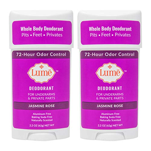 Lume Natural Deodorant - Underarms and Private Parts - Aluminum Free, Baking Soda Free, Hypoallergenic, and Safe For Sensitive Skin - 2.2 Ounce Stick Two-Pack (Jasmine Rose)