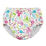 i play. by green sprouts Baby Toddler Girls' Snap Reusable Swim Diaper, White Sea Pals, 3T