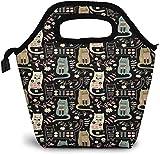 Bolsa de almuerzo con aislamiento de gatos y diseño de animales populares divertidos, ideal para pícnic, enfriador, portátil, para mujeres, niñas, hombres y niños