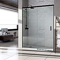 VAROBATH .Mampara de ducha con apertura frontal de puerta corredera, perfil NEGRO y cristal transparente con 6 mm de grosor. Disponible en varias medidas (117 a 126)