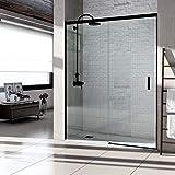 VAROBATH .Mampara de ducha con apertura frontal de puerta corredera, perfil NEGRO y cristal transparente con 6 mm de grosor. Disponible en varias medidas (107 a 116)