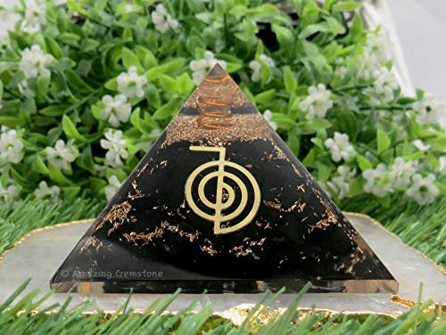 Orgone Pyramid - Cristal de turmalina negra – Reiki Natural Healing Stones Orgonita Generador Energía para Yoga Meditación