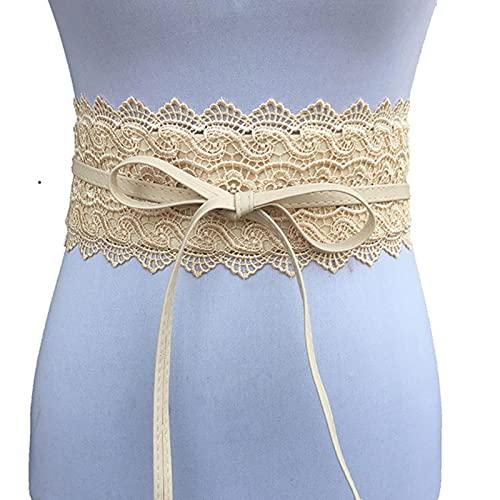 BXing Cinturón de Encaje para Mujer, Cinturones Anchos para Mujer, Corbata para Mujer, Cinturilla OBI, Cintura, Vestido de Boda, Banda de Cintura