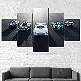 IIIUHU Cuadro sobre Impresión Lienzo 5 Piezas Jaguar Vision Gran Turismo HD Abstracta Imágenes Modulares Sala De Estar Cuadro Decorativo Abstracto Salon Dormitorio Decoración para El Hogar 100X55Cm