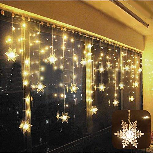 Cortina de Luces, LED Luces de Cortina, Cadena De Luces, Carámbano de Blanco Cálido con 8 Modos de Luz Perfecto para Decoración de Navidad, Festival,Fiestas, Casa,Jardín,Boda,etc