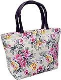 TUOF Bolso de Mano con Cremallera pequeña de Lona con Flores Rosas para Mujer, Blanco, 30 cm x 20 cm x 9 cm