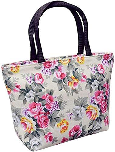 ABO Frauen Rose Flower Canvas Kleiner Reißverschluss Shopping Handtasche Tote Umhängetasche, Weiß, 30 cm x 20 cm x 9 cm