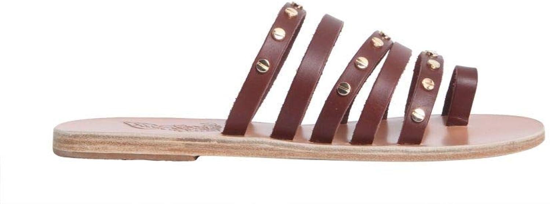 ANCIENT GREEK SANDALS Women's NIKINAILSVACHETTACOTTO Brown Leather Sandals