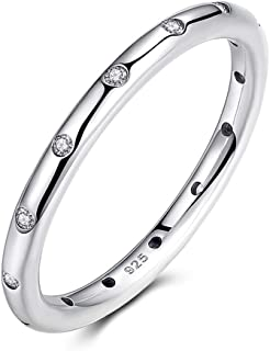 2.5mm 925 Sterling Silver CZ Simulated Diamond Stackable Ring Eternity Bands for Women