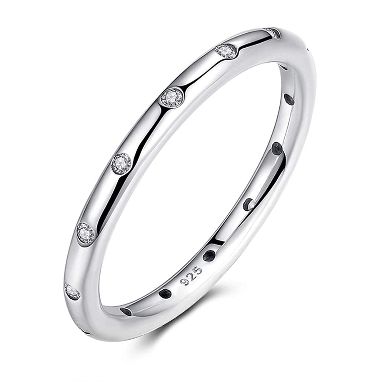 AllenCOCO 2.5mm 925 Sterling Silver CZ Simulated Diamond Stackable Ring Eternity Bands for Women