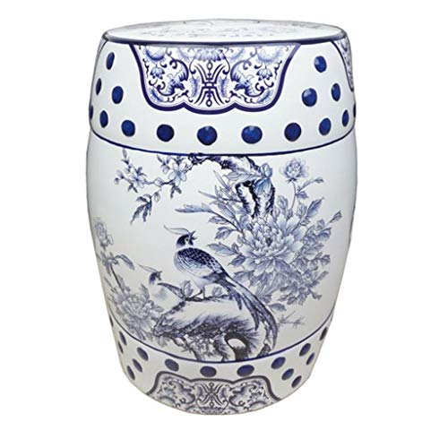 MAISONICA Taburete oriental chino azul blanco porcelana asiento final mesa faisán peonías 45cm