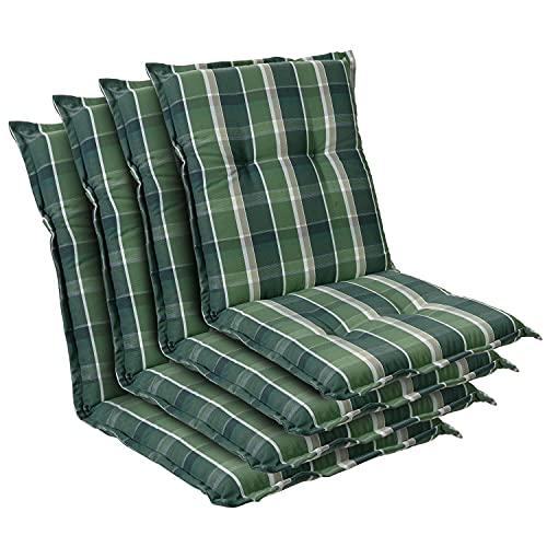 Homeoutfit24 Prato - Cojín Acolchado para sillas de jardín, Hecho en Europa, Respaldo bajo, Resistente a los Rayos UV, Poliéster, Relleno de Espuma, 103 x 52 x 8 cm, 4 Unidades, Verde