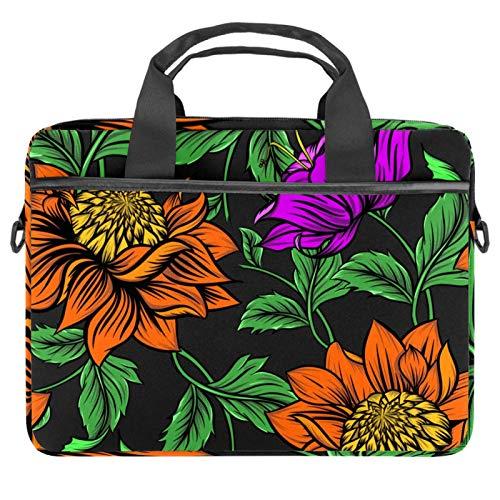 Laptoptaschen mit abnehmbarem Schultergurt, Orange / Rose / Grün / Blätter, 33,4 - 36,7 cm