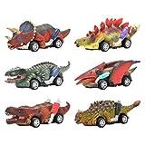 DINOBROS Dinosaurio Toy Pull Back Coches, 6 unidades de juguetes Dino para niños de 3 años y niños pequeños, juguetes para niños a partir de 3, 4, coches de juguete, juegos de dinosaurios con T-Rex