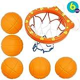 Juguetes de 5 Balones y Red de Baloncesto para el Baño | Juguete de Baño para Bebé y Niños | Juego Educativos Y Accesorios | Juguete Ideal para la Diversión a la Hora del Baño | Regalo para Navidad