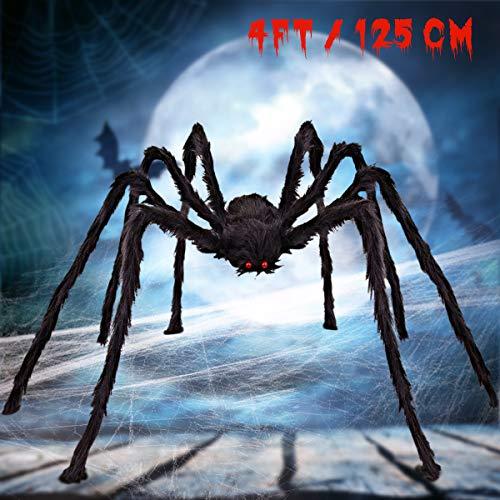 SnowCinda Halloween Spider, Scary Halloween Decorations Hairy Spider for Halloween Outdoor & Indoor Decor Halloween Party Supplies