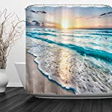Baccessor Tropical Sea Beach Ocean Waves Shower Curtain with Hooks, Seaside Scene Island Hawaiian Sunrise Beach Theme Waterproof Fabric Shower Curtain, 60