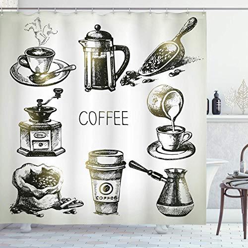 Alvaradod Cortina de Ducha de café,Equipo de elaboración de Cerveza,Molinillo de bocetos,Prensa Francesa,Taza de plástico,Cuchara Vintage,Amarillo Negro con 12 Ganchos de plástico de 180x210 cm