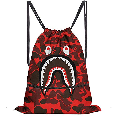 Men Women Shark Mouth Gym Drawstring Bag Waterproof Sports Backpack