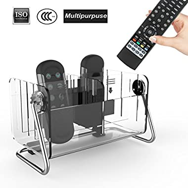 Danny House Remote Control Organizer,Remote Control Holder,Acrylic Caddy Remote Holder Tidy Space Saving Metal TV Remote Control Storage With 6 Case for Table,Desk,Bedside,Coffee or End Table