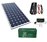 Kit fotovoltaico 1 kW diario Inverter 2000 W panel energía solar batería