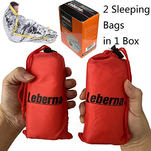 "Leberna Thermal Emergency Sleeping Bag Mylar Survival Gear Foil Bivy Sack Shelter Supply | 3 x 7 FT 36""x84"" Double Sided, All Weather Condition NASA Space Outdoors Camping Hiking Marathon First Aid"