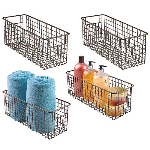 mDesign Narrow Bathroom Metal Wire Storage Organizer Bin Basket Holder with Handles - for Cabinets, Shelves, Closets, Countertops, Bedrooms, Kitchens, Garage, Laundry - 16' x 6' x 6' - 4 Pack - Bro