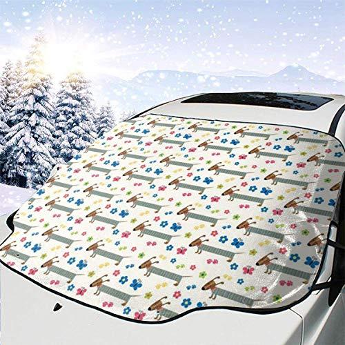 de nieve para ventana de automóvil, perro salchicha de dibujos animados, cachorro de perro salchicha con pijama de rayas, flores y mariposas, protectora para sombrillas de automóvil 147 x 118 cm