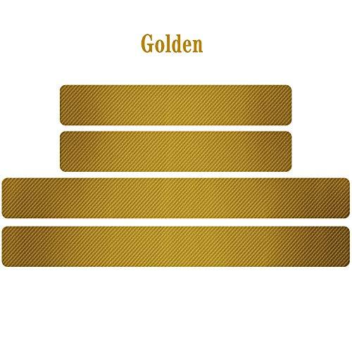 JiuRui DIY Verpackung 4pcs Zubehör Für Carbon-Faser-Anti-Kratzer-Verschleiss-Car Einstiegs-Abdeckungs-Schutz-Aufkleber Für DS3 DS4 DS5 DS 5LS DS7 (Color Name : Gold, Style : DS3)