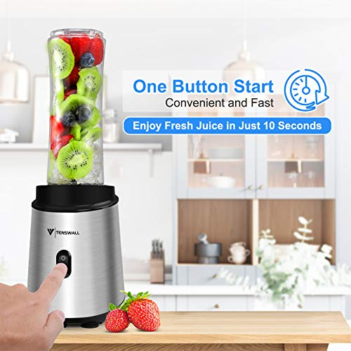 Personal Blender, Blender Shakes and Smoothies , 400 Watt Smoothie Blender Frozen Food and Vegetable Food Processor, Portabel Blender with 2x600 Juice Cup and 1Grind Cup BPA-Free for Sports,Travel,Gym,home and office L9