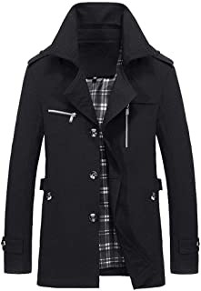 Realdo Mens Fashion Jacket, Warm Coat Slim Fit Long Buttons Trench Overcoat Outwear