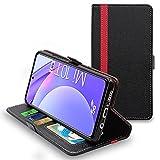 ebestStar - Funda Compatible con Xiaomi Mi 10T Lite 5G Carcasa Cartera Cuero PU, Funda Libro Billetera Ranuras Tarjeta, Función Soporte, Negro/Rojo [Phone: 165.3 x 76.8 x 9 mm, 6.7'']