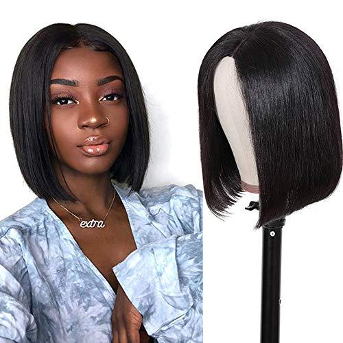 Straight Human Hair Bob Wigs for Black Women MSGEM Brazilian Virgin Hair 2x6 Lace Front Wigs Human Hair Pre plucked Short Bob Wig 8 inch Pixie Cut Human Hair Wigs 150% Density