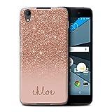 Personalisiert Hülle Für BlackBerry Neon/DTEK50 Individuell Glitter Effekt Roségold Design Transparent Ultra Dünn Klar Hart Schutz Handyhülle Case