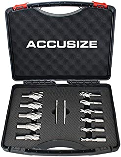 Accusize Industrial Tools 13 Pc 7/16'' to 1-1/16'' Hss Annular Cutters, 1'' Cutting Depth, 3/4'' Weldon Shank, with 2 Pilot Pins, Strong Box, N10