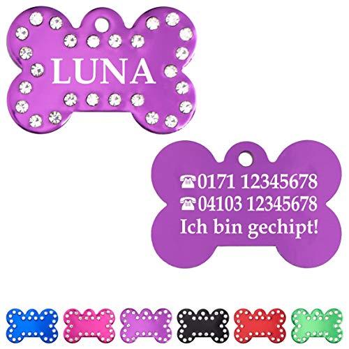 Iberiagifts - Hundemarke Knochen mit Strasssteinen und Gravur für mittelgroße bis große Hunde- Plakette für Hund und Katzen graviert personalisiert (Lila)
