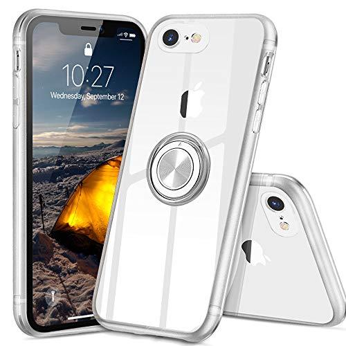 iphone se ケース iPhone 7 ケース iPhone 8 ケース スマホリング カバー リング 透明 TPU クリア リング付きケース 回転リング アイフォン7/8/SE ケース 磁気カーマウントホルダー スタンド 携帯ケース 耐衝撃 薄型 レンズ保護ト 耐久 一体型 防塵 (クリスタル・クリア)