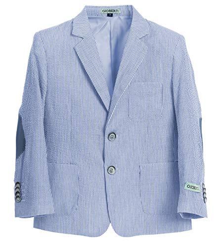 Gioberti Boys and Kids Seersucker Blazer Jacket, Blue, Size 2T