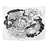 Emvency Tapestry Mandala 50x60 inch Home Decor Japanese Demon and Carp Fish Tattoo Oni with Chrysanthemum Flower and Koi for Bedroom Living Room Dorm