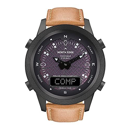 QNMM Reloj Solar Hombres Digital para Hombre de Deporte Al Aire Libre Relojes Full Metal 50M Impermeable del Compás de Cuenta Atrás del Reloj Inteligente Cronómetro
