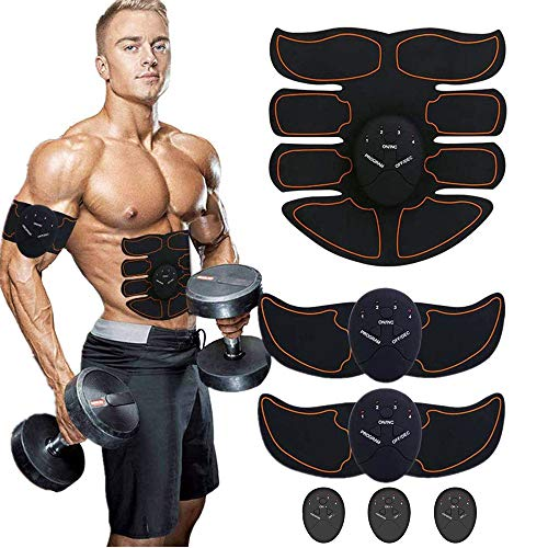 Porgaten Muscle Toner Abdominal Toning Belt - EMS ABS Toner Body Trainer Wireless Fitness Training Pads for Abdomen/Arm/Leg Training Home Office Exercise
