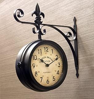 【ステーションクロック 壁掛け時計 両面時計 Lサイズ ブラック】 ウォールクロック おしゃれ時計 アンティーク 模様替え 北欧雑貨 両面時計 駅時計