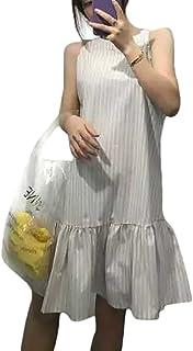 HJ レディース ワンピース ノースリーブ Aライン マキシ ワンピ シフォン レディース ドレス 吊スカート カジュアル 体型カバー サマー ドレス 春夏