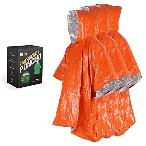 Bearhard Notfall-Decke, Notfall Regenmantel Poncho 3 Stück, Ultraleicht Wasserdicht Thermo-Survival-Decke mit Kapuze, für Camping, Wandern oder Notsituationen