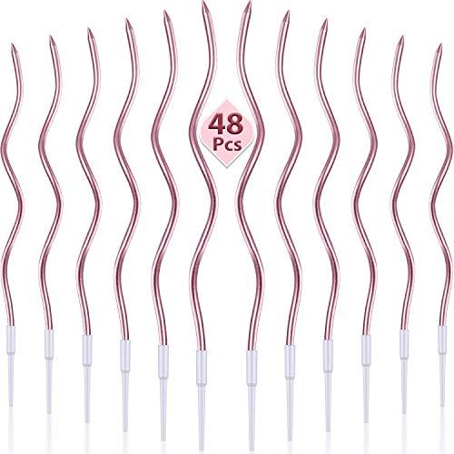 48 Piezas Velas de Cumpleaños Sinuosos Velas de Pastel Magdalena Espiral Metálico con Funda Velas de Tarta de Bobina Rizada Larga y Delgada para Decoración Fiesta Boda Cumpleaños (Oro Rosa Metalizado)