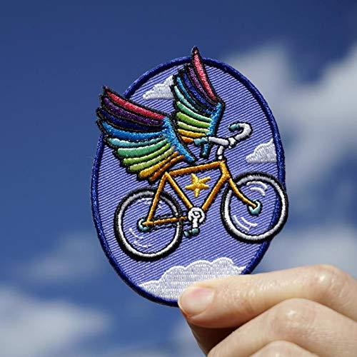 Marel P Atch Fiets Pegasus borduurwerk patch strijkplaatje (afscheurbaar - naar behoefte) hoogte ca. 8,90 cm.