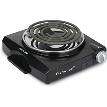 Techwood Portable Electric Coil Burner Single Hot Plate Home Use Countertop Cooktop 1100W Stainless Steel Indoor Adjustable Temperature Control Easy Clean