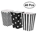 NUOLUX Popcorn-Kästen, Papier-Süßigkeit-Kästen 48pcs für Partei-Bevorzugung (Schwarzes)