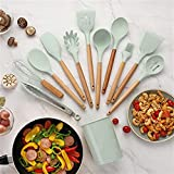 Gadgets Wooden Handle Non-Stick Cookware Silicone Kitchenware Set Cooking Spoon Kitchen Tools Accessories,kitchen Utensil (Color : Light green)